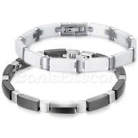 Men's Stainless Steel White/Black Ceramic Bracelet Cross Wrist Link Chain Bangle