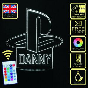 Personalised Playstation Logo LED Colour Changing Kids Bedside Lamp or Trophy.