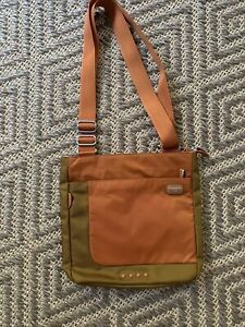 Tumi T-Tech Crossbody Bag Organizer Travel Purse Ballistic Nylon Orange Olive