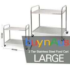 SOGA Stainless Steel Kitchen Trolley Cart 2 Tiers Dining Food Utility Large R