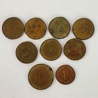 Vintage Germany Deutschland Pfennig Coins Postwar 9 COINS TOTAL