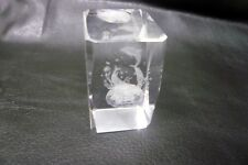3D Laser prism Florida plying dolphins light catching crystal cut glass 4cm h 3w