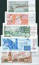 ALGERIA COMPLETE SET 5 SPECIMEN NOTES  P 130-131-132-133-135. UNC CONDITION.