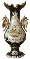 Massive Antique Coalport Vase Mythical Bird Handles Circa 1850