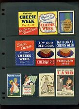 OLD FOOD RELATED POSTER STAMPS CHEESE, MILK, FRUIT, CANDY, PURITAN JELLY, ETC
