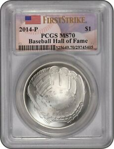 2014P Baseball Hall Fame HOF $1 SILVER  MS 70 DCAM HANK AARON Hand-Signed