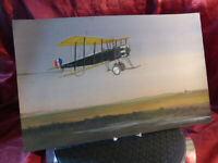 Vintage 1919 Watercolour Painting of an AVRO 504K Biplane 7104 over Romney Marsh