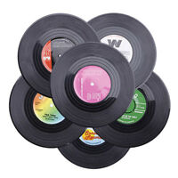 6X Classic Vintage Vinyl Cup Mats Coasters Groovy Retro CD Record Cafe Bar Drink