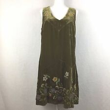 ANNA SUI ANTHROPOLOGIE | Green Velvet Floral Embroidered Shift Dress | Size 12