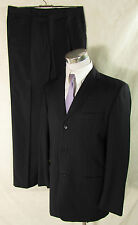 Edler HILTON Nadelstreifen Anzug, Einreiher Sakko+Hose Schurwolle schwarz Gr. 50