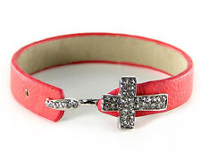 Pink Leather Bracelet With Silver Toned Clear Rhinestone Cross