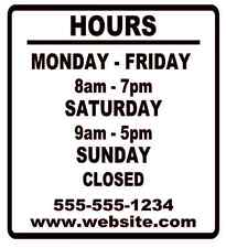 Business Store Hours Sign Window Shop Open Closed Sticker Decal 10x9 Ver 2
