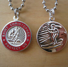 Saint Christopher Surf Medal Protector of Travel sv-re Silver-Red Medium