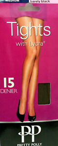 Pretty Polly 15 Denier Tights With Lycra Barely Black Medium 1, 3 or 5 Pair Pack