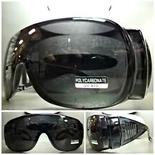 WRAP AROUND DRIVING SAFETY SUN GLASSES Over RX Glass Fit Black Frame Dark Lens