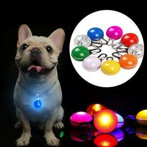Pet Dog Collar Pendant Safety Round Flashing Glow Light LED Blinking Tags F2U7