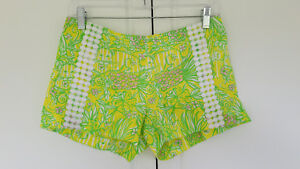 Lilly Pulitzer Zip Back Shorts Yellow Green Pink Animal Lion Print Womens Size 0