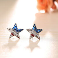 American Flag Star Earrings Crystal Studs Independence Day 4th of July Fashion