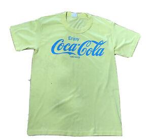 Vtg 70s Men's Coca Cola T-Shirt M Coke Yellow Single Stitch Rare Soda USA made