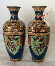 Pair of Large Antique Cloisonné Vases, Chinese in Mirror Image
