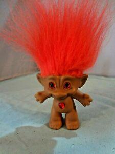"Ace Novelty 3"" Treasure Troll - Vintage 1990s - Orange Hair Wish Stone GemHeart"