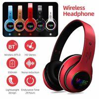 Wireless Bluetooth Headphones HiFi Stereo Headset LED Earphones Noise Cancelling