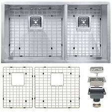 """32"""" x 18"""" x 9"""" 18 Gauge Stainless Steel Undermount Dual Kitchen Sink Drain Set"""