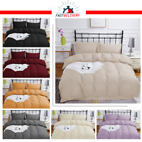 Plain Dyed Duvet Quilt Cover With Pillowcase Bedding Set Single/Double/King Size