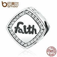 """Bamoer European S925 Sterling Silver """"Falth"""" Charm With cz Fit Bracelets chain"""