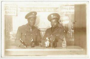 WWII Era Black African American Soldiers in Tijuana Saloon - REAL PHOTO Postcard