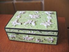 Enamel Cloisonne Butterfly Trinket Box Stamped China