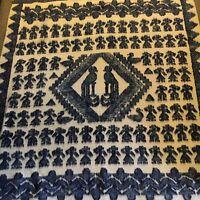 "Vintage Guatemalan Sheep's Wool Blanket Blue and White Quetzel Birds 60"" x 86"" 2"
