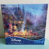 Disney Thomas Kinkade Minnie & Mickey Sweetheart Campfire 750 Piece Puzzle NIB