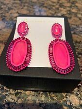 Kendra Scott Kaki Drop Statement Earrings Matte Magenta Pink Agate NWT $195