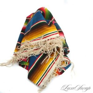 Anonymous Vintage Southwestern Mexican Hand Knotted Fringed Serape Chief Blanket