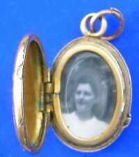 ancien PENDENTIF PHOTO métal doré OLD FRENCH PHOTO LOCKET PENDANT silvered metal
