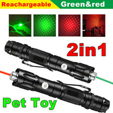2Pcs 990miles Red+Green Laser Pointer 2in1 Star Pattern Beam Visible Lazer Torch