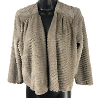 Sunny Leigh Brown Fuzzy 3/4 Sleeve Cropped Open Front Jacket Women's Size Small
