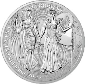 "Germania 2019 25 Mark The Allegories ""Germania & Columbia"" 5 Oz Silver Coin"