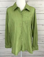 Southern Lady Top Womens XL Green Solid Button Long Sleeve Collared Blouse