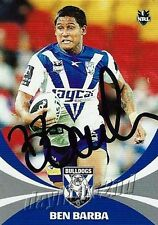 ✺Signed✺ 2011 CANTERBURY BULLDOGS NRL Card BEN BARBA Daily Telegraph