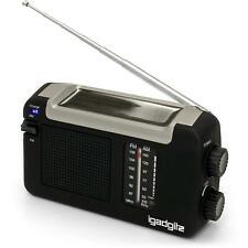 IGadgitz Xtra U4457 Wind Up Solar & USB Rechargeable Portable AM/FM Radio Black