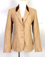 vtg Sasson Beige Brown Wool Blend Riding Blazer Equestrian Velvet Collar 13/14