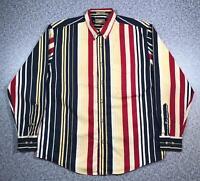 90s Vintage NATURAL ISSUE Mens Vertical Stripe Shirt Medium Long Sleeve