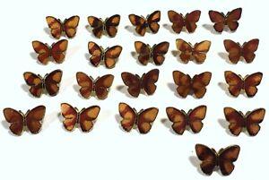"21 Vtg 1970s JHB Imports Metal Enamel Cloisonné Novelty BUTTONS Butterfly 3/4"""