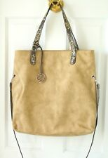 NWT Tan Chamois Large Shoulder Tote Convertible Flap Crossbody Satchel Bag 2 pc