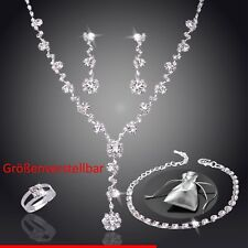 Schmuckset Collier Hochzeit Set Strass Brautschmuck Ring Armband Ohrringe Silber
