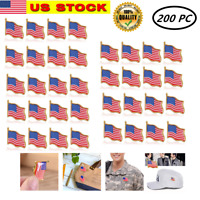 200 pcs Unisex American Flag US Lapel Pin United States USA Hat Tie Tack Badge