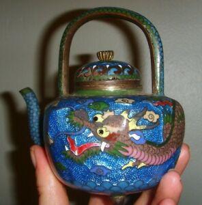 Vintage antique ginbari cloisonne enamel miniature teapot dragon design DAMAGED