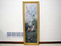 #2 LARGE Antique OIL ON CANVAS PAINTING - CHERUBS PLAYING IN FLOWERS